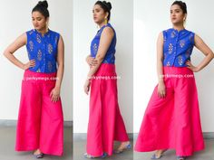 How to style palazzo with kurtis Indian Ethnic Wear. Palazzos with ethnic jacket.