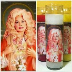 "St. Dolly Parton Devotional Candle: ""Burn at night for hair higher than heaven!"""