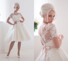 Free shipping, $152.88/Piece:buy wholesale 1950s Vintage Ivory A-line Wedding Dresses Knee-length Lace Bridal Gowns With Illusion Short Sleeves Pink Sash Summer Beach Wedding Dress 81 from DHgate.com,get worldwide delivery and buyer protection service.