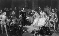 Engraving circa 1600 depicts Shakespeare reciting a work before the court of Elizabeth I. Archive Photos/Getty Images