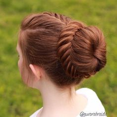 Neatly done French fishtail into a lace fishtail bun by aurorabraids