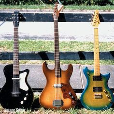 The guitars are a '58 Silvertone, a '65 Kay bass, and an '80s Westone Concord H by Matsumoko, in factory blue/gold sparkle finish.