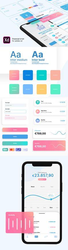 Free Financial UI Kit for Adobe XD Free Font Ui Elements, Design Elements, Ui Design, Graphic Design, Cv Resume Template, Adobe Xd, Free Graphics, Mockup Templates, Ui Kit