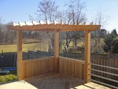 A better look at a beautiful pergola! A better look at a beautiful pergola! There are several things that can lastly finish a person's backyard, for instance a well used white colored picket fence or perhaps an outdoor packed with. Pergola Diy, Corner Pergola, Deck With Pergola, Wooden Pergola, Pergola Shade, Pergola Plans, Pergola Ideas, Pergola Roof, Gazebo