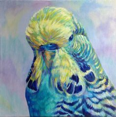 Budgerigar Giclee Print, 20 x 20 cm or 30 x 30 Mounted, Of Oil Painting 'Joey' Blue, Turquoise - Perruche - Wellensittich - Periquito Blue Budgie, Budgie Parakeet, Budgies, African Grey Parrot, Gifts For Pet Lovers, Bird Art, Cute Pictures, Giclee Print, Cool Art