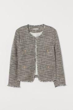 Textured-weave Jacket - Black/natural white - Ladies | H&M US