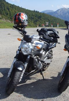 Stella, my fz6 at the Col d'Aspin, one of our local routes.