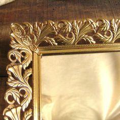 Vanity Tray Vintage Mirror Shabby Chic Brass Metal by Joyousworld, $24.50