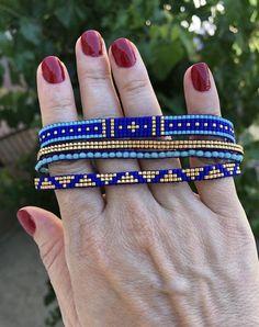 Miyuki loom bracelet Multi loom bracelets multi miyuki bracelets bracelet for gift bracelet for women miyuki beaded bracelet Loom Bracelet Patterns, Bead Loom Bracelets, Bead Loom Patterns, Jewelry Patterns, Beading Patterns, Gold Bracelets, Diamond Earrings, Beading Ideas, Macrame Bracelets