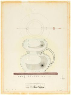 Coffee time! Design for Drip Coffee Maker, Karl Schneider, June 12, 1942. Graphite and colored pencil on tracing vellum.