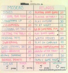 How I got my kids to beg to do chores - chore chart. Points for chorws. Rewards for points. Kids chores with point system. Foe the boys Chore Rewards, Kids Rewards, Rewards Chart, Chore List, Kids And Parenting, Parenting Hacks, Games For Kids, Activities For Kids, Bonding Activities