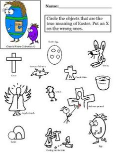 Easter Egg With Bible Worksheet Circle the Object for Sunday school True meaning of Easter