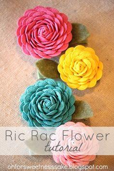 Ric Rac Flower Tutorial by Oh for Sweetness Sake