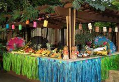 decoração de festa havaiana outdoor