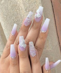 "May 2020 - Explore weddingsonlyin's board ""Bridal Nail Art Designs Pink Ombre Nails, Purple Nail, Summer Acrylic Nails, Cute Acrylic Nails, Acrylic Nail Designs, Gel Nails, 3d Nail Designs, Coffin Nails, Summer Nails"