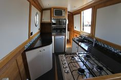 Lucky Spud Barge Interior, Best Interior, Interior And Exterior, Narrowboat Kitchen, Narrowboat Interiors, Small Space Living, Small Spaces, Canal Boat Interior, Narrow Boat