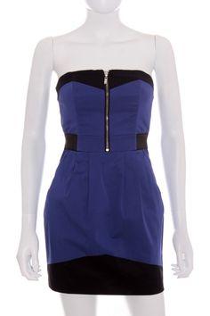 Ideal para Nochevieja. Mini Vestido Mujer - H&M azul negro segunda mano talla 34 XS