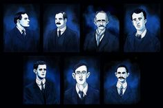The leaders of the 1916 Easter Rising. Easter Rising, How To Make Animations, Irish Dance, Animated Gif, Batman, Superhero, Blog, Painting, Fictional Characters