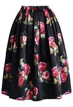 Shades of Roses Pleated Midi Skirt
