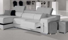 OMEYA: Sofá 3 plazas con chaise longue, tapizado en tela con asientos deslizantes, cabezales abatibles y arcón practicable.