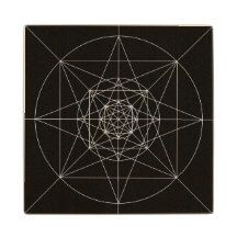 Third Dimensional Sacred Geometry Wood Coaster