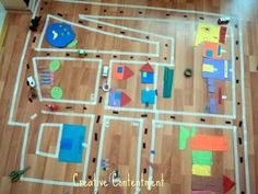 Masking Tape Town, a rainy day fun Rainy Day Activities, Indoor Activities, Learning Activities, Learning Maps, Kid Activites, Babysitting Activities, Preschool Education, Preschool Ideas, Early Learning