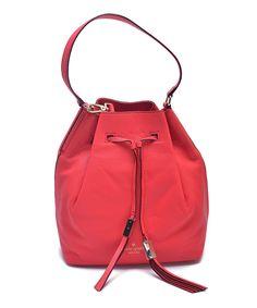 Loving this Kate Spade Geranium Delaina Grey Street Leather Bucket Bag on #zulily! #zulilyfinds