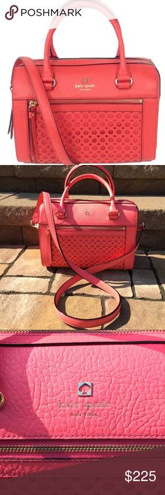 """Kate Spade Delaney Perri Lane Crossbody/Satchel NWT, authentic Kate Spade Delaney Perri Lane Bubbles bag; color is Peony. Can be worn as a crossbody (removable long strap) or used as a Satchel. Top handle bag in pebbled leather with front perforated """"bubbles"""" detailing. kate spade new york embossed signature on spade stud. Front zip pocket. Top handles. Adjustable crossbody bag. Interior 2 slip pockets, 1 zip pocket. Approx. 10 .5"""" x 8"""" x 6"""". . Approx. 6"""" handle drop. Removable approx. 31""""…"""