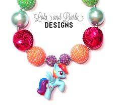 RAINBOW DASH My little pony necklace chunky by LolaandDarlaDesigns