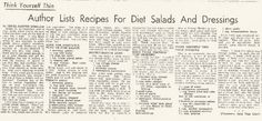 Savory Gelatin Salads (Aspic) from the Daily Review Monday July 14, 1952