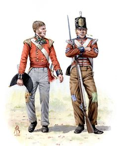 British; 7th Foot, Officer and Grenadier at Battle of Albuera 16th May 1811 British Army Uniform, British Uniforms, British Soldier, Military Art, Military History, Marina Real, Commonwealth, Age Of Empires, American Revolutionary War
