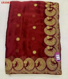 Saree Embroidery Design, Embroidery Suits, Hand Embroidery, Embroidery Designs Free Download, Machine Embroidery Designs, Red Saree, Sari, Computerized Embroidery Machine, Designer Silk Sarees