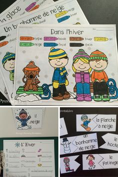 French Winter Write the Room! Perfect for Winter, this set is filled with great French vocabulary activities including the write the room activity, word puzzles, colour by word pictures and more! Perfect for centres! Save money with the Write the Room bundle and get sets for the whole year and future sets for free! #hiver #neige #French #Français #january #janvier