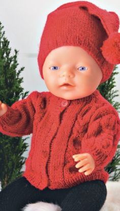 Dukketrøje og nissehue | Familie Journal Knitting Dolls Clothes, Knitted Dolls, Doll Clothes Patterns, Doll Patterns, Knitting Patterns, Ag Dolls, Reborn Dolls, Girl Dolls, Knitting For Kids