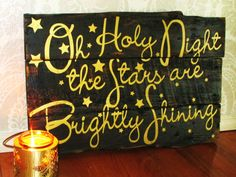 Oh Holy Night Black and Gold Distressed Reclaimed Wood Christmas Sign Wall Hanging Home Decor