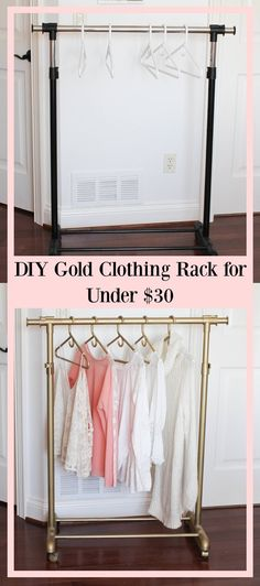 DIY gold clothing rack for UNDER $30 - garment rack - spray painted clothing…