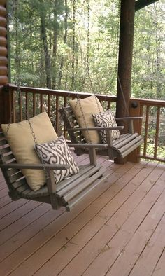 These little porch swing chairs are adorable! But I would have to justify them by having a bench seat as well... I'm a cuddler.