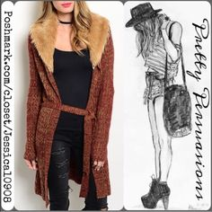 """NWT Faux Fur Trim Tie Waist Long Rust Cardigan Sm NWT Faux Fur Collared Long Cardigan   Available in Sizes: S, M, L  Length: 45""""  Color: Wine/Rust  Features:  • long sleeves  • faux fur trimmed collar • self tie waist belt  Add a layer of cozy style to your ensemble with this ultrasoft cardigan that boasts an eye-catching blend of warm hues.     No trades or pp  Bundle discounts available    Thank you. Xo Pretty Persuasions Sweaters Cardigans"""