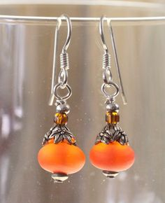 Hand Crafted in the USA Sterling Silver Wire Frosted Orange Glass Bead Drop Earrings New