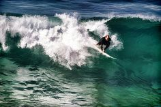 Surfing On Blue And Green Digital Art by Priya Ghose - Surfing On Blue And Green Fine Art Prints and Posters for Sale. A surfer rides a cold turquoise wave near Big Sur, California. #surfing #surf #art