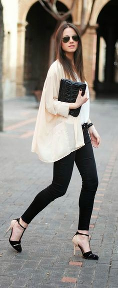 Zara Classic Top with Skinny Jeans and Black Heels...