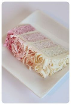 Scrumptious beauty! Ombre cake... Maybe have the outside still be all white though...