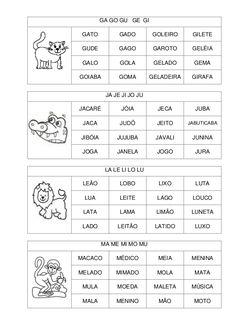 Fichas de leitura sil simples
