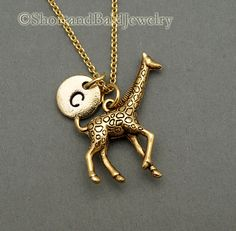 ***Inventory Replacement Sale Off All Items*** * Large Giraffe charm in Antique Gold Pewter. Approx: 1 X Lead free pewter charm made in U. * Hand Stamped Initial Charm - Antique Gold Pewter * Click below for Large giraffe in Antique Silver Pewter: Initial Necklace Gold, Monogram Jewelry, Gold Bar Necklace, Gold Plated Necklace, Monogram Bracelet, Giraffe Jewelry, Giraffe Necklace, Gold Rings Jewelry, Fine Jewelry