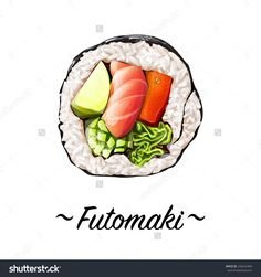Futomaki Sushi Roll Containing Salmon Meat, Sweat Pepper Rice, Caviar, Avocado, Cucumber On A White Background. Japanese Cuisine, Traditional Food Icon. Pixel Perfect Isolated Vector Illustration - 246222409 : Shutterstock