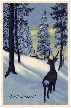 Christmas Deer, Vintage Christmas Cards, Christmas Wrapping, Xmas Cards, Christmas Holidays, Merry Christmas, Reindeer Drawing, Christmas Traditions, Google Images