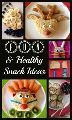 Fun and healthy snack ideas for kids. Make lunch and snack time fun with these sandwich ideas.