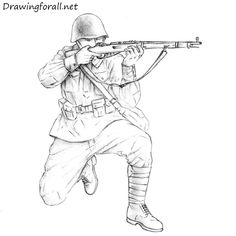 How to Draw a Soviet Soldier Soldier Drawing, Army Drawing, Army Wife Tattoos, Drawing Sketches, Pencil Drawings, Concept Draw, Military Drawings, Civil War Photos, Drawing Reference Poses