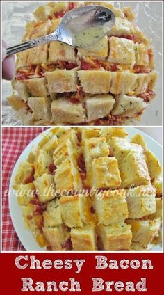 The Country Cook: Cheesy Bacon Ranch Bread recipe. The perfect party for for game day. All my favorite things-cheese, bread, and BACON!