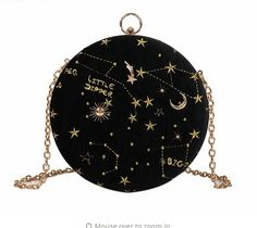 Galaxy Stars and Moon Whimsical Round Fashion Bags ✨ Material:Velvet,Satin Size: With a long chain Buying 2 or more items automatically saves you money on shipping fees. We provide fast and safe shipping world wide! Lila Outfits, Yennefer Of Vengerberg, Sacs Design, Blue Ivy, Accesorios Casual, Round Bag, Crossbody Messenger Bag, Black Crossbody, Cute Bags